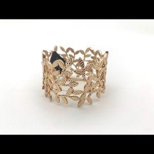 4/$25 INC Wide Stretch Gold Leaf Bracelet NEW